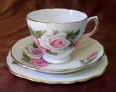 Vintage Royal Vale Pink Rose Floral Trio Cup Saucer Plate Made In England #8138