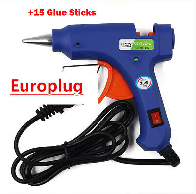 20W Trigger Electric Hot Melt Glue Gun 15 Adhesive Sticks For Hobby Craft Mini