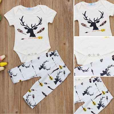 Newborn Baby Boys Girls Deer Short Sleeve Tops Romper Pants Outfits Set Clothes