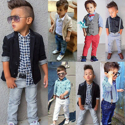 2Pcs Kids Boys Dress Shirt Tops + Jean Pants Gentleman Suit Outfits Clothes Set