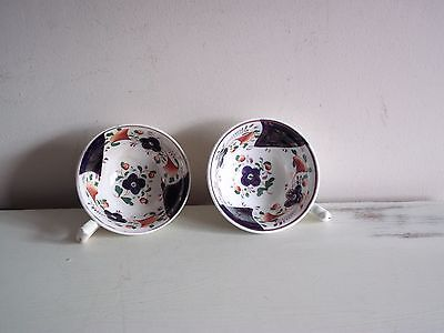 Pair Antique Gaudy Welsh Cups Unusual Pattern