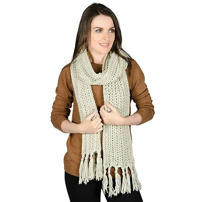 Ladies Bonn Stone Gold Threads Chunky Knitted Scarf Womens Warm Winter Accessory