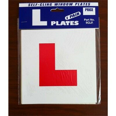 Pair Of Self Cling L Plates - Plate Driving Lesson Gift Learner Driver Front