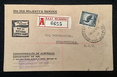 1946 Registered Cover Raaf Melbourne P/m Ohms Cachet Allotment Section Red Label