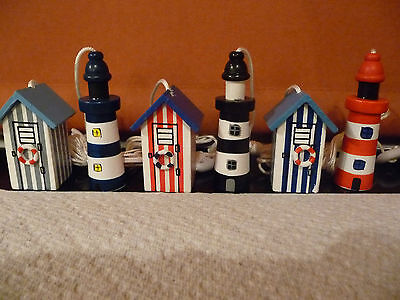 Nautical Wooden Beach Hut or Lighthouse Bathroom Light / Shower Pull NEW
