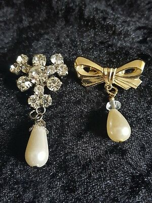 Vintage Pair Of Dangling  Faux Pearl Embellishment Brooches. (Small).