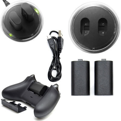 For XBOX ONE Dual Controller Play Charging Dock Charger+2x Rechargeable Battery