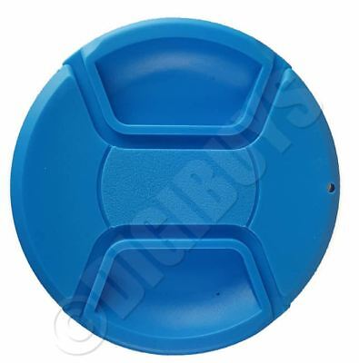 55mm BLUE Colour Center Pinch Snap-On Lens Cap Nikon Canon EF Sony Thread