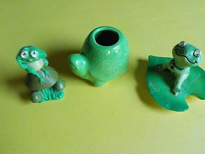 Vintage Lot of Frogs One Enesco and One Turtle Toothpick Holder