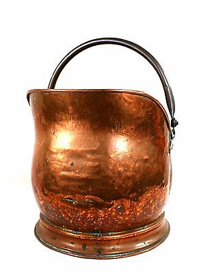 Antique Victorian Copper & Brass Coal Scuttle Log Basket Bucket Dovetailed