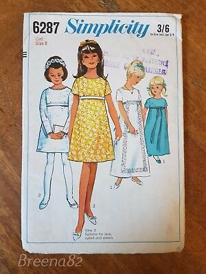 Vintage british 1970s childrens girls Clothes Sewing Patterns simplicity 6287