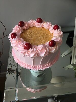 Fake Pink Cake 8in Round With Cherries