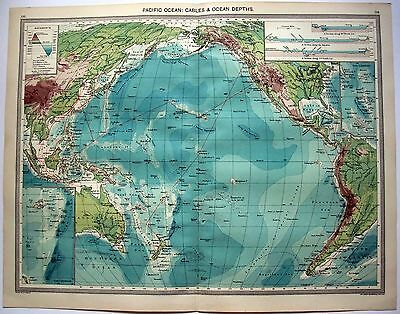 Map of the Pacific Ocean - Cables & Ocean Depth by George Philip & Son c1906
