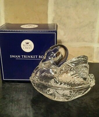 Vintage Elegant Crystal  Glass Swan On Nest Design Trinket Box mothers day mum