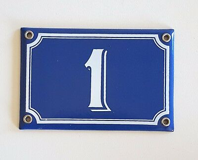 Vintage French Blue Enamel Porcelain Door House Gate Number Sign Plate 1