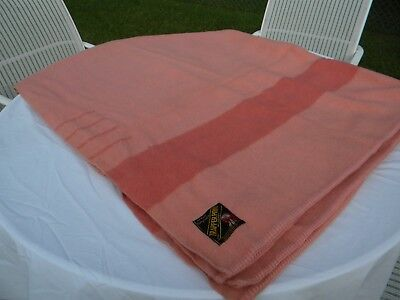 "VTG TRAPPER POINT 4 POINT WOOL BLANKET w/ STRIPE 72"" X90"" salmon color Exc. Cond"