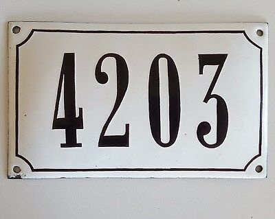 ANTIQUE FRENCH STEEL ENAMEL HOUSE NUMBER SIGN 4203 Gate garage front door plaque