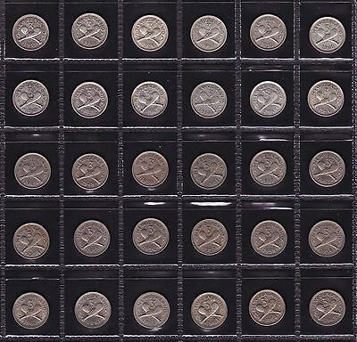 New Zealand Threepence Set 1933 to 1965 All Dates 30 Coins (except 1935)
