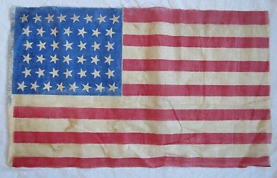 44 Star (Wyoming) US Parade Flag American Hourglass Design 1890s Old Vtg Antique