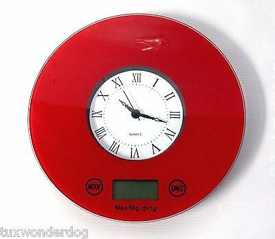 Space Saver Kitchen Scale with Clock - Hang on Wall After Using - 3 Colors
