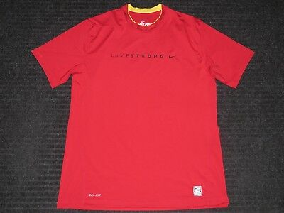 Nike Pro Combat Dri-Fit Fitted Livestrong Short Sleeve SS Shirt Mens XLarge Red