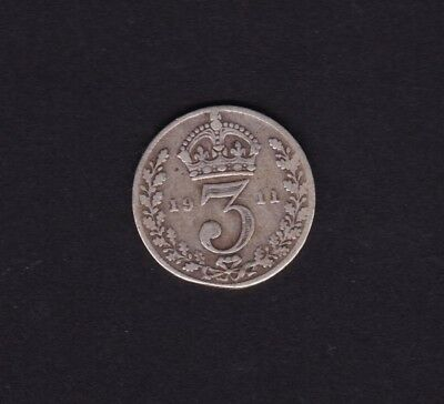 1911 Great Britain UK Threepence Silver Coin