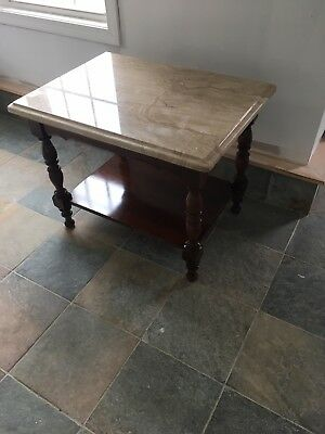 Wood Side Table With Top In Marble