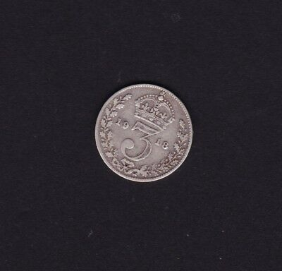 1918 Great Britain UK Threepence Silver Coin