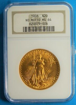 1908 No Motto, $20 Gold Double Eagle, NGC, MS-64,  FREE SHIPPING,(More at Store)