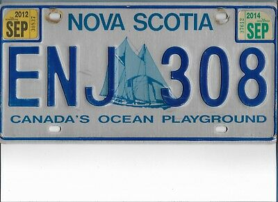 2012 - 2014  NOVA  SCOTIA  (  BLUENOSE  )  Plate  ENJ 308  Very Good  Condition