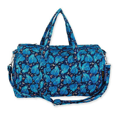 Laurel Burch Indigo Cats Quilted Cotton Large Weekender Tote Duffle Travel Bag