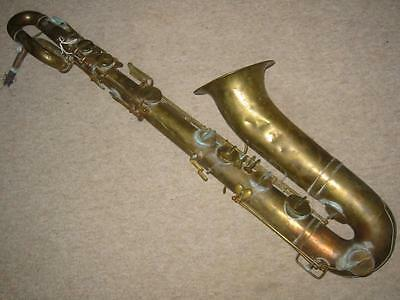 "Very old French Baritone Saxophone ""Halari F. Sudre Paris"" for decoration!"