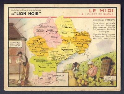 MAP - LION Noir, Victorian Trade Card / Chromo,  LE MIDI Provincial French map