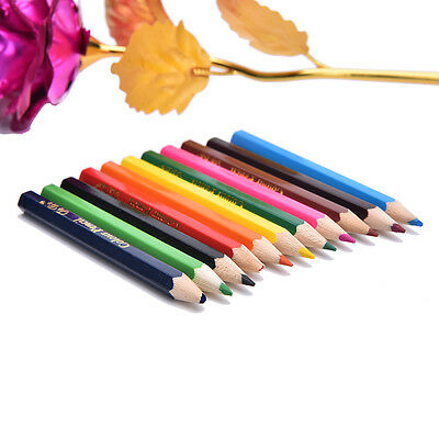 12X Colors Wooden Pencils Pen Drawing For Kids Student Sketching Gift Set 8cm GE