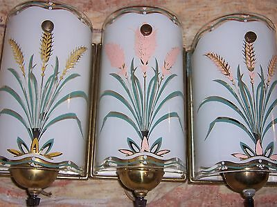 ANTIQUE VTG 3 ART DECO WALL SCONCE reverse paint curved glass light peach pink