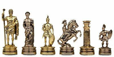 Manopoulos Romans Small Chess Set - Brass&Nickel - Without Chess Board