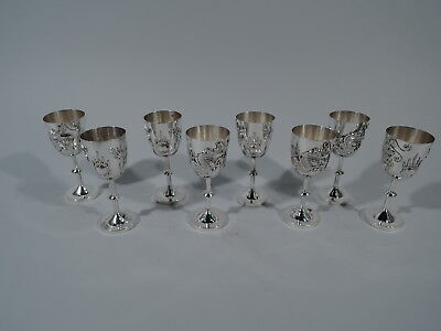 Export Cordials - China Trade Asian Antique - Set of 8 Cups - Chinese Silver