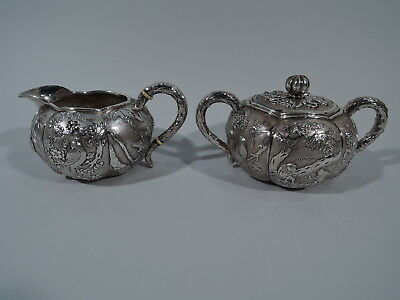 Export Creamer & Sugar - China Trade Asian Antique Birds Bamboo - Chinese Silver