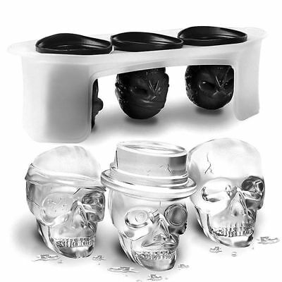 Silicone Ice Cube Chocolate Whiskey Cocktail Molds Mould Halloween Skull Shape