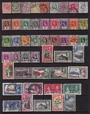 Ceylon 1872 to 1972 Collection of Stamps 4 pages all different