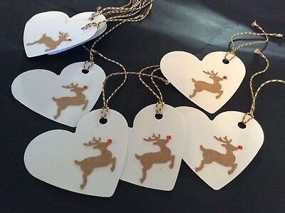10 Christmas White Heart Gift Tags