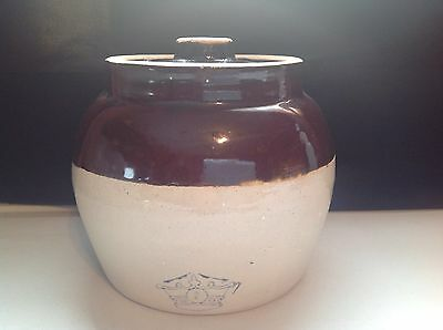 Robinson Ransbottom Pottery Blue Crown 2 Qt. Pot W/Handle Brown & Cream