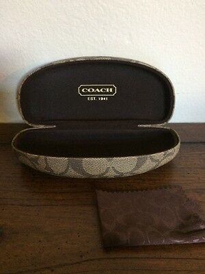 Coach Sunglass Case Brown Signature With Cleaning Cloth