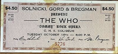 The Who Unused Ticket for C.N.E. Coliseum Toronto October 14, 19  Mega Rare