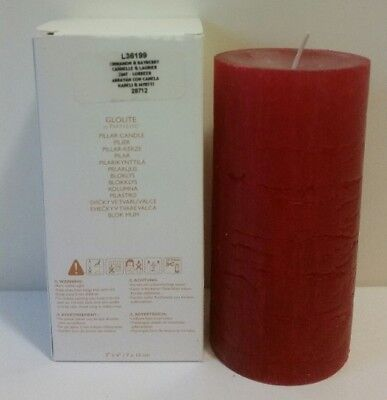 "Partylite GLOLITE CINNAMON & BAYBERRY 3""x6"" tall pillar candle-New in Box-L36199"