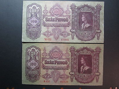 Budapest 1930 100 Pengo x2 Bank Notes  note100