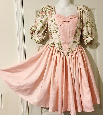 Square Dance Princess Dress Shiny Pink And White With Tiny Pink Roses Print  S/m