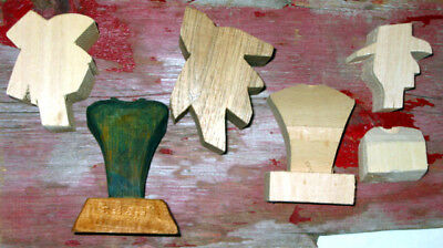 Cowboy Head Wood Carving Blanks With Bases Lot of 3 Busts Basswood Cutouts