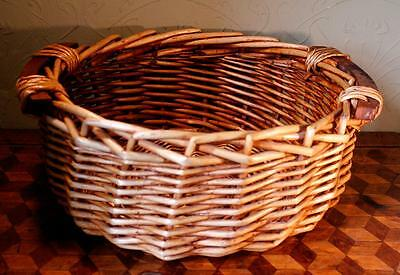 LOVELY Large Round Vintage French Handled Wicker Basket Bread Hamper Bowl LOOK!