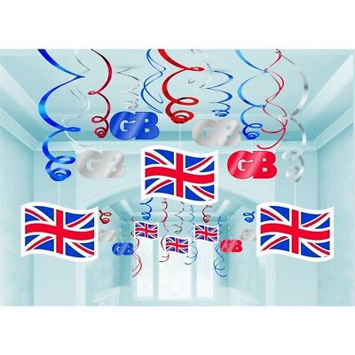 Great Britain Swirl Decorations - 30 Hanging Union Jack Gb Party